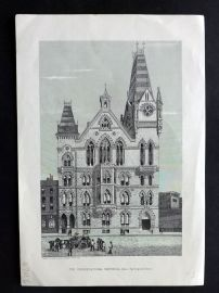 Cassell's Old and New London C1878 Print. The Congregatonal Memorial Hall